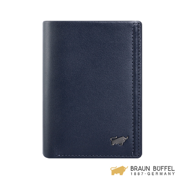 (Braun Buffel)[BRAUN BUFFEL] Android Series 4 Card Holder - Navy Blue BF312-403-MAR