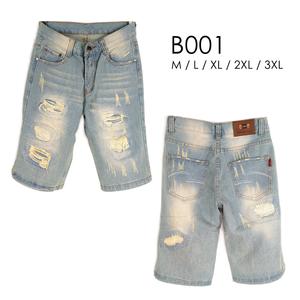 [Myj] กางเกงขาสั้นผ้ายีนส์‧ผ้ายีนส์แปรง‧กางเกงขาดบุคลิกภาพกางเกงขาสั้นขาด‧กางเกงขาสั้นปัด‧กางเกงขาสั้นสบาย ๆ ‧สีอ่อน denim ‧ M ~ 3XL