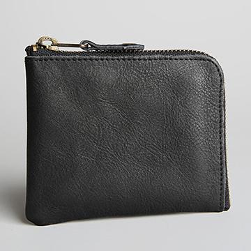 Classic leather organ zipper short clip black