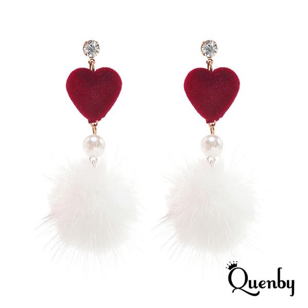 Quentby ต่างหูเงินแท้ 925 Sterling silver ต่างหูเพชร ต่างหูรูปหัวใจสีแดง ต่างหูห้อยระย้าลูกบอลขนนก