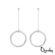 (Quenby)Quenby 925 Sterling Silver Fashion Simplified Circle Long Drop Earrings / Ear Pins