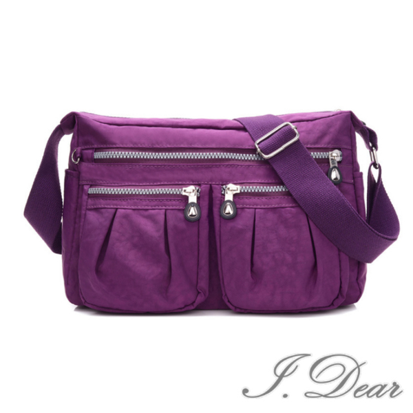 (I.Dear)[I.Dear] Europe and the United States men and women mother casual Oxford cloth nylon zipper cross-body bag side backpack (BG75 purple)