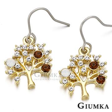 (GIUMKA)[] GIUMKA tree ear hook earrings fine wisdom plated yellow K MF238-3
