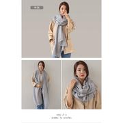 [Happy 邑邑] ผ้าพันคอผ้าฝ้ายและผ้าลินินเวอร์ชั่นเกาหลีสี่ฤดูป่าผ้าพันคอผ้าคลุมไหล่ขนาดใหญ่ - ถั่วเขียว