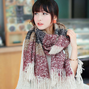 [TAITRA] [YANG YI] All Style Mohair Couple's Colorful Yarn Stripped Pattern Shawl / Scarf - Red