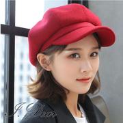 (I.Dear)[I.Dear]24H-Korea autumn and winter literary wool blend wool octagonal beret painter hat (red wine)