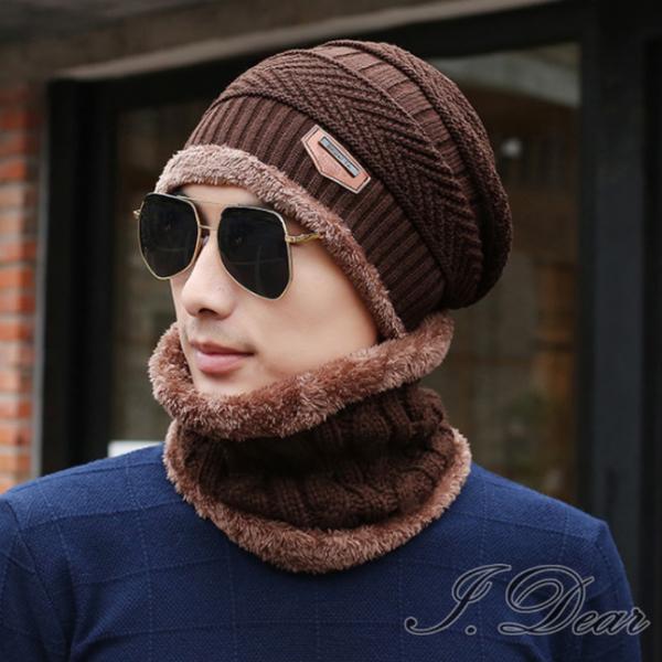 (I.Dear) [I.Dear] กลางแจ้งชายและหญิงที่อบอุ่นหนาหนาถักหมวกขนสัตว์เอี๊ยมสองชิ้น (กาแฟลึก)