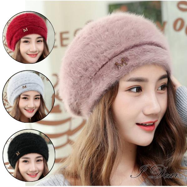 (I.Dear)[I.Dear] South Korea autumn and winter M letter metal standard rabbit fur warm beret painter hat (4 colors)