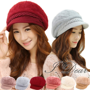 (I.Dear)[I.Dear] Korean Knitted Rope Rabbit Plush Warm Lady Hat (6 colors)