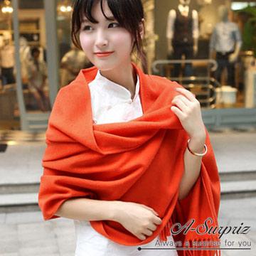 (A-Surpriz )A-Surpriz temperament elegant plain cashmere shawl scarf Wide (Orange)
