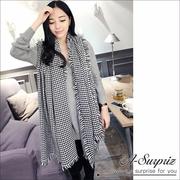 (A-Surpriz)A-Surpriz Houndstooth wool knit scarf fringed