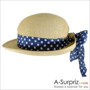 (A-Surpriz )A-Surpriz หมวกสานน่ารักๆ พร้อมโบว์ผูกด้านหลัง (สีเบจ)