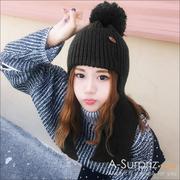 (A-Surpriz)A-Surpriz solid color large ear ball wool hat (black)