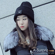 (A-Surpriz )A-Surpriz square smiley face thickening anti-fold wool hat (black)