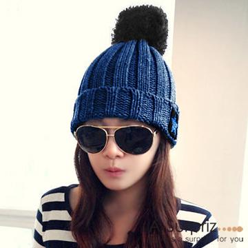 (A-Surpriz )A-Surpriz star badge reflexed ovo ball knit hat (blue jeans)