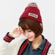 (A-Surpriz )A-Surpriz minimalist style striped wool hat (burgundy)