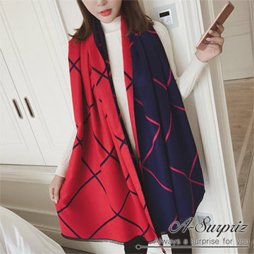 (A-Surpriz )A-Surpriz geometric lines to increase both sides of the cashmere shawl (blue-red)