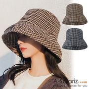 (A-Surpriz)A-Surpriz Houndstooth Pattern Blend Wool Fisherman Hat (2 colors)