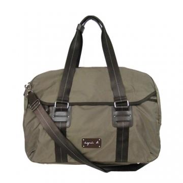 (agnes b)Agnes b. Leather double bar buckle travel bag (coffee)