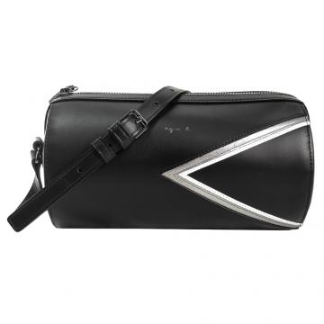(agnes b)agnes b. stamping logo trigonometry drums leather messenger bag (black)