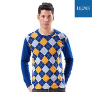 (HENIS)[HENIS] fast warm velvet elastic heating warm print long-sleeved shirt _ Bao blue plaid