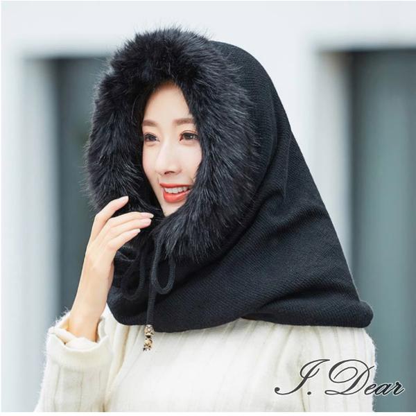 (I.Dear)[I.Dear] 24H speed up - autumn and winter warmth imitation rabbit fur grass drawstring wool knit hooded collar (black)