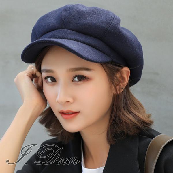 (I.Dear)[I.Dear]24H-Korea autumn and winter literary wool blend woolen octagonal beret painter hat (Tibetan)