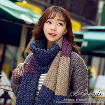 (A-Surpriz)A-Surpriz Korean style two-color knit stitching plus thick scarf (blue-purple)
