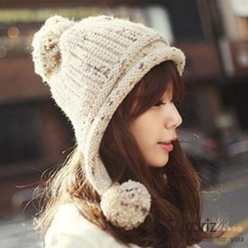 (A-Surpriz) หมวกไหมพรม แบบน่ารัก สีเมล็ดข้าว