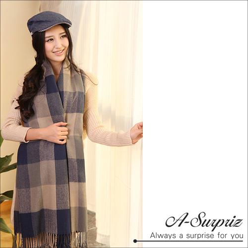 A-Surpriz Elegant British Checked ผ้าคลุมไหล่แคชเมียร์ Faux กว้าง (Blue Mig)