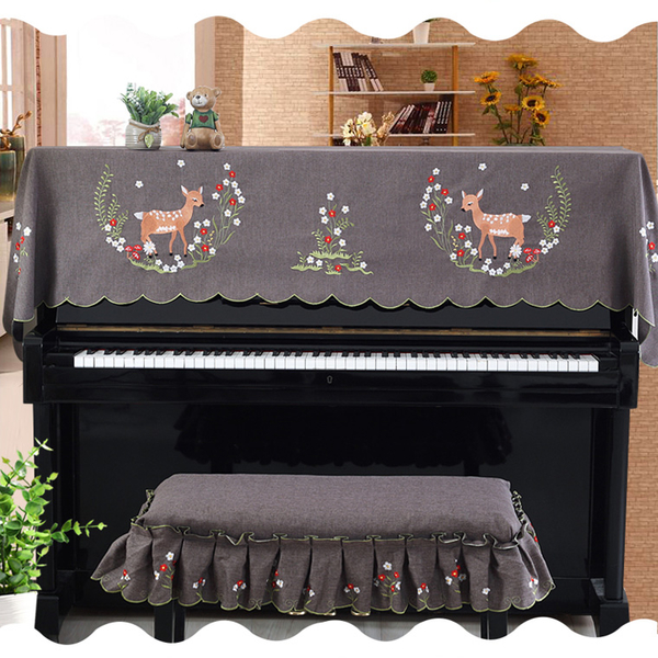 [Mega Music] Piano Cover/Dust Cover/Piano Cloth - Deer Romantic Garden Hollow Embroidery Series + Single Chair Cover