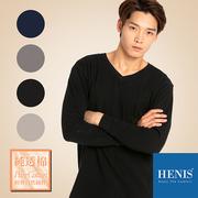 (HENIS)[HENIS] cotton wool color V-neck warm clothing _ black