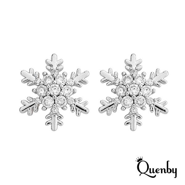 Quenby ต่างหูเงินแท้ 925 Sterling silver ต่างหูทรงเกล็ดหิมะ ต่างหูแฟชั่นต้อนรับลมหนาว