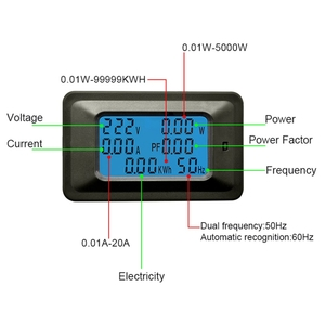 AC 6in1 Multimeter Voltage 110V 220V Current Amp 100A Power Factor KWH Frequency