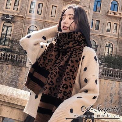 (A-Surpriz) A-Surpriz Dongdaemun เสือดาวผ้าพันคอยาวทอหนา (กาแฟ)