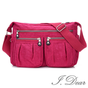 (I.Dear)[I.Dear] Europe and America mother and female casual Oxford cloth nylon zipper cross-body side backpack (BG75 pink)