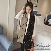 (A-Surpriz) เส้นรูปทรงเรขาคณิต A-Surpriz เพื่อเพิ่มทั้งสองด้านเพื่อเลียนแบบผ้าคลุมไหล่แคชเมียร์ (สีกากีสีดำ)