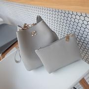 กระเป๋าเซ็ต 2 ใบ กระเป๋าแฟชั่น ประดับโบว์ กระเป๋าถือ กระเป๋าสะพายข้าง หนังเทียม (สีเทา) รุ่น 169