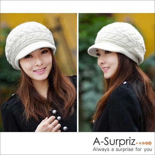 A-Surpriz beret ทอผ้าขนสัตว์ผู้หญิง (อารมณ์สีขาว)