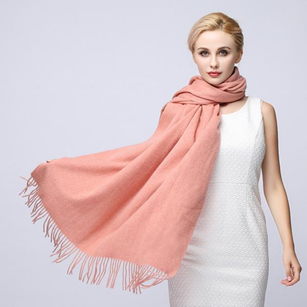 (I.Dear)[I.Dear] 100% Cashmere Lamb Cashmere Thicken Solid Color Scarf / Shawl (Coral Powder)