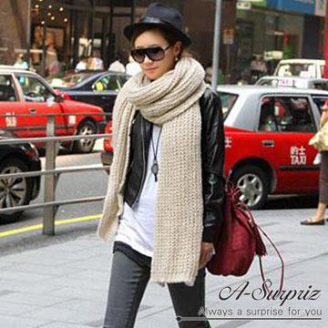 A-Surpriz สีทึบผ้าขนแกะกลวงผ้าพันคอหนาทอ (ข้าวสีขาว)