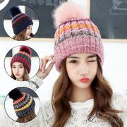 [I.Dear] เวอร์ชั่นเกาหลีของลูกขนน่ารักขี้เล่นขนาดใหญ่ตีสีลายถักหมวกขนสัตว์ (4 สี)