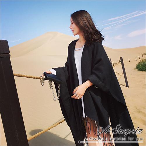 A-Surpriz คลาสสิกบุกหรูหราถักคู่ใช้ผ้าคลุมไหล่ผ้าพันคอหนา (สีดำ)