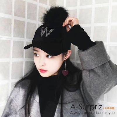 A-Surpriz คริสตัลเพชร W กำมะหยี่หมวกผ้าบอล (สีดำ)