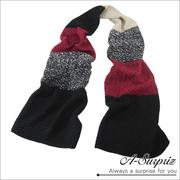 A-Surpriz เย็บหลายสไตล์เกาหลีและผ้าพันคอหนายาว (ข้าวแดงและดำ