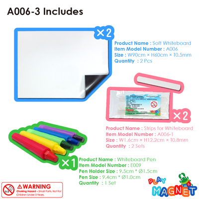 A006-3 กระดานไวท์บอร์ดแม่เหล็กแบบอ่อน + ชุดปากกาสี