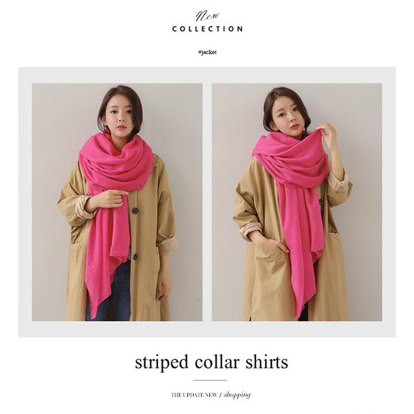 [Happy 邑邑] ผ้าพันคอผ้าฝ้ายและผ้าลินินเกาหลีสี่ฤดูป่าผ้าพันคอผ้าคลุมไหล่ขนาดใหญ่ - สีเทากลาง
