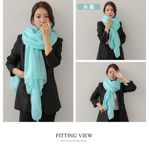 [Yangzhou happiness] ผ้าพันคอ ผ้าคลุมไหล่ ทำจากผ้าฝ้ายผสมลินิน ขนาดใหญ่ - สีเทา
