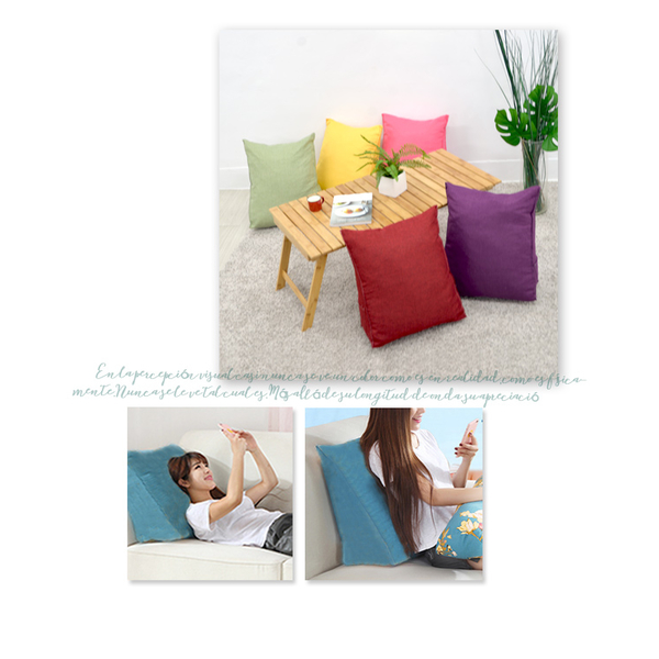 [Receiving staff] Japanese-style simple pure color feel cotton and linen weaving pressure triangle pillow / pillow / leg pillow (alcoholic red)