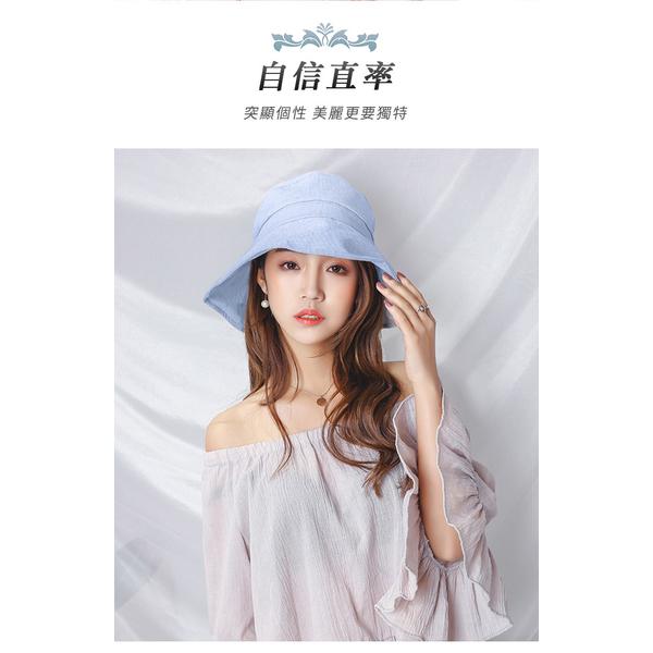 (幸福揚邑)[YangYi] happiness Japan and South Korea anti-UV brimmed hat cotton and linen collapsible Bowl hat sun hat - powder